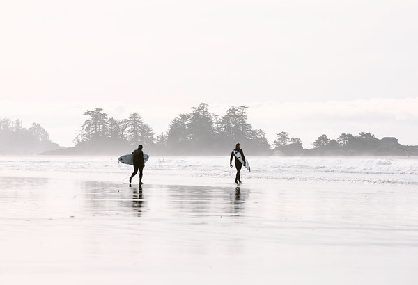 Tofino winter surfers