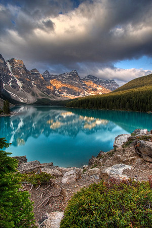 "Moraine Lake in the Canadian Rockies. Taken at sunrise from the ""rock pile"" looking at the Valley of Ten peaks"