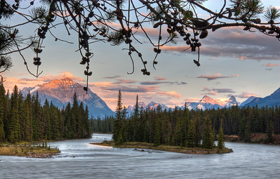 Another beautiful sunset at Jasper in the Majestic Canadian Rockies. You are looking at the  Athabasca River with Mount Kerkeslin in the background.