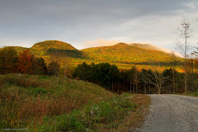 Evening sun strikes the hills of Dorset, VT.
