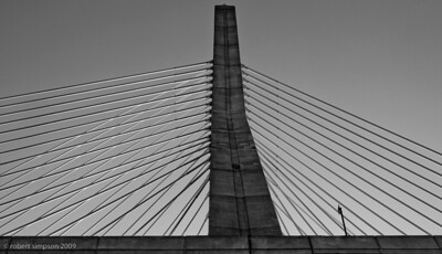 Zakim Bridge North Tower B/W