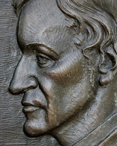 Close-up of Francis Parkman memorial bronze relief.