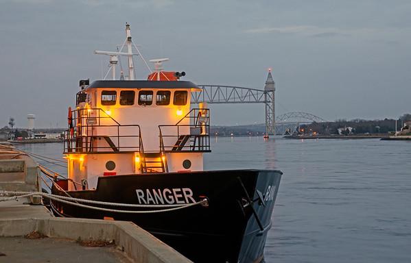 Maritime traing craft at dusk