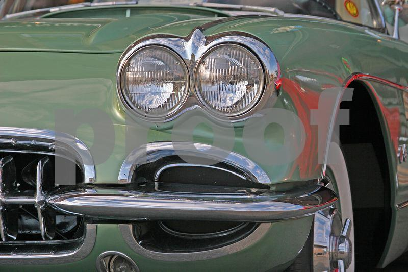 First generation Chevrolet Corvette headlights and bumper in green