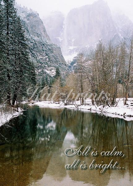 A calm Merced River reflects Yosemite Falls in winter