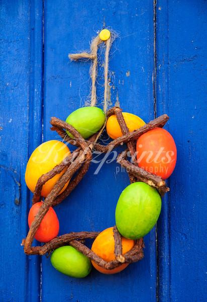 Easter wreath on blue barn door