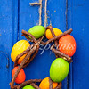 Easter wreath on blue barn door