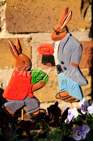 Easter decoration in a flowerbed in Germany