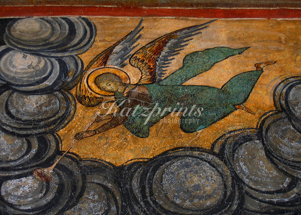 A ceiling painting in a church in Bucharest, Romania, depicts an angel with a trumpet