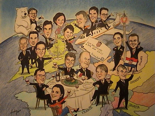 JP Morgan group caricature.