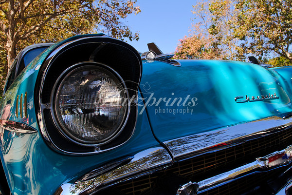 Front view of a classic Chevrolet at the Cruise for a Cause in Willow Glen