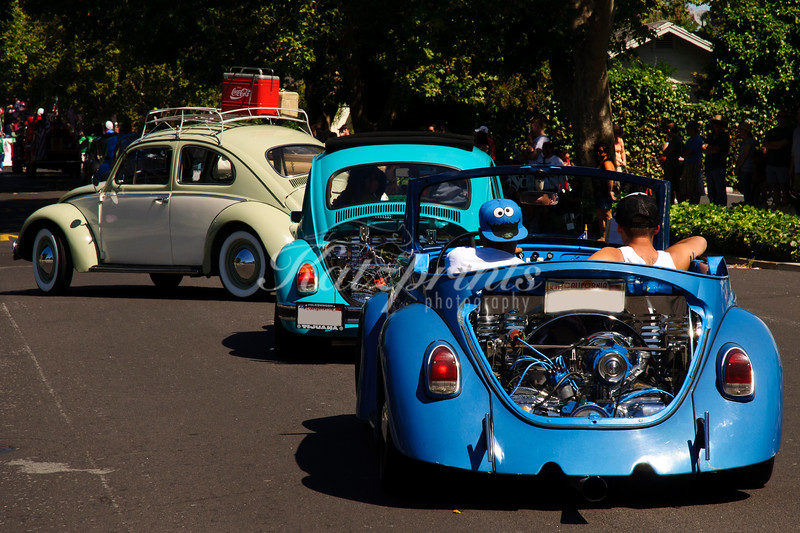 Green-blue Beetle Ballet at the 4th of July Rose, White and Blue Parade in San Jose