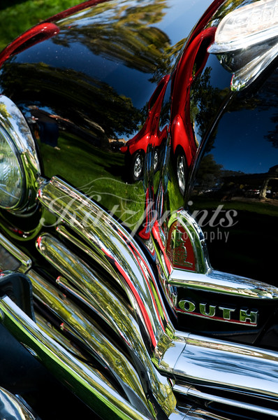 Front detail of a classic Plymouth at the Golden Oak Festival in Paso Robles