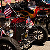 Hot rod line-up at the 4th of July Rose, White and Blue Parade in San Jose
