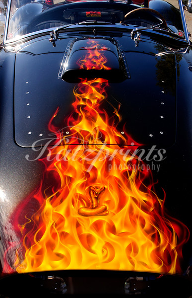 Flames and cobra artwork on the hood of a classic Shelby Cobra