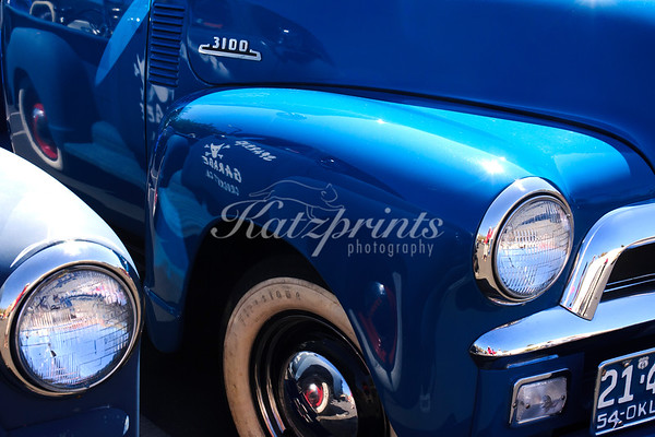 Front view of a classic truck at the Cruise for a Cause in Willow Glen