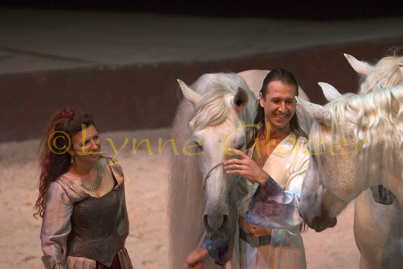 As equestrian co-directors of Cavalia and performers as well, they bring a wonderfully gentle and magical way with horses to the heart and soul of the production. Cavalia is a chance to give freedom back to horses.<br /> [Magali, Templado, Fred, Fasto & Aetes]