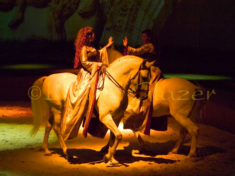 The French Canada-based Cavalia performance has been described variously as a ballet between man and horse, a gentle, romantic dance, a civilized showcase of precision horsemanship and courtly behavior, and a constant yearning to be airborne. It is indeed the magical encounter between horse and man that it is billed, opening to sold-out crowds and standing ovations at the engagements scheduled so far in Canada, San Francisco, Los Angeles and Seattle.<br /> [Magali & Estelle Delgado, Dao & Penultimo]