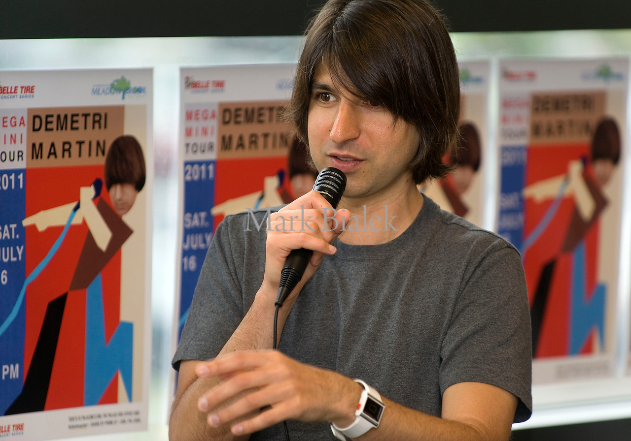 "Demetri Martin, stand-up comedian, actor, writer, answers questions from fans while promoting his book entitled ""This is a Book"" at Barnes & Noble in Ann Arbor, Michigan on May 14, 2011."