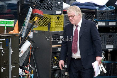 "Actor Philip Seymour Hoffman takes a break from filming of ""The Ides of March"" in downtown Detroit, Michigan on March 8, 2011.  George Clooney is directing and starring, along with Hoffman, Marisa Tomei, Ryan Gosling, Evan Rachel Wood, and Paul Giamatti."