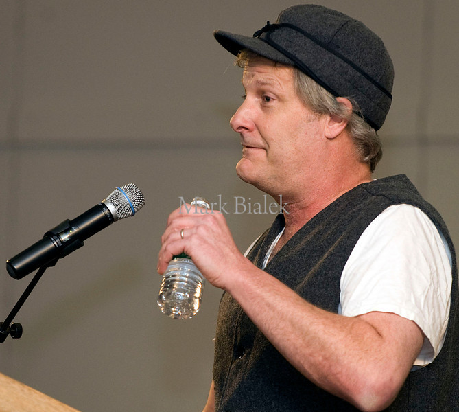 Actor Jeff Daniels talks about the state of the Michigan film industry during a town hall meeting in Livonia, MI on Feb 24, 2011.  Daniels, a Michigan native, urged a crowd of about 3000 to contact their representatives and the state legislature to plead to keep Michigan's generous film tax incentives in place.  Michigan Governor Rick Snyder is proposing to replace the film tax incentive program with a $25 million cap on future film credits, which Daniels and other film executives believe would virtually put an end to the booming Michigan film industry.
