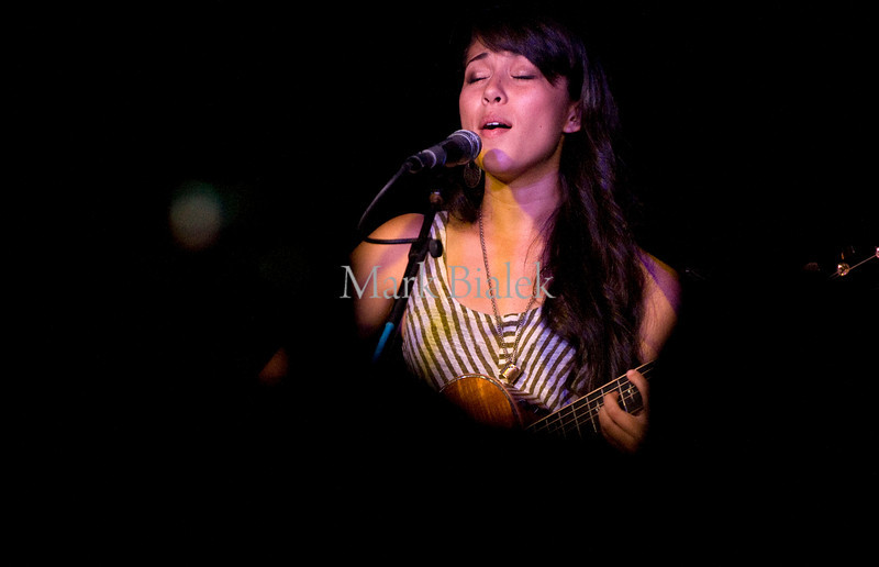 "Acoustic singer-songwriter Kina Grannis performs during a stop on her ""In Your Arms"" world tour at the Blind Pig in Ann Arbor, MI on May 3, 2012."