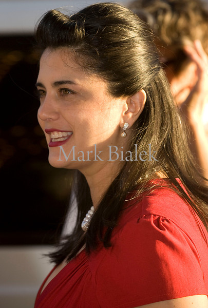 Filmmaker Christina Morales Hemmenway smiles while arriving at the premier of her movie 'Naked Angel' at Michigan Theater in Ann Arbor.