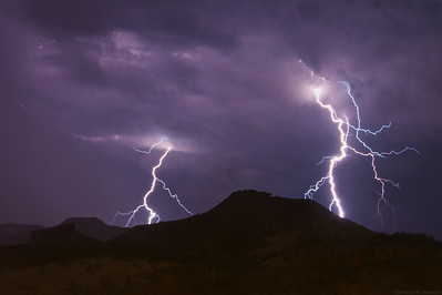 Lightning strikes around Indian Lookout Mountain