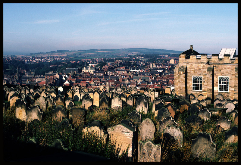 Whitby Abby Cemetery - Overlooking the sea in the distance.