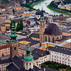 Salzburg on the Salzach River, view from high on the fortress, Festung Hohensalzburg.