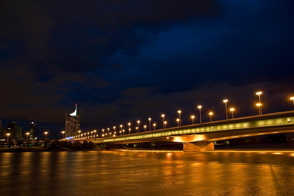Night in Vienna on the Danube River