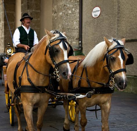 Horse drawn carriage ride in Salzburg, Austria