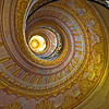 Spiral staircase in the Austrian Benedictine abbey, in the town of Melk, on a rocky outcrop overlooking the river Danube in Austria, adjoining the Wachau valley. <br /> <br /> Melk, Austria