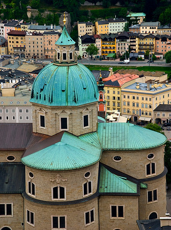 Just one section of the Salzburg Cathedral, one of the largest cathedrals in Europe. Salzburg, Austria