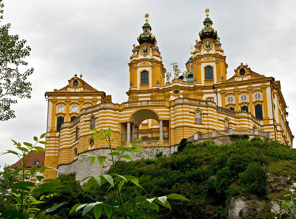 In Melk, Austria, on a rocky outcrop overlooking the river Danube.