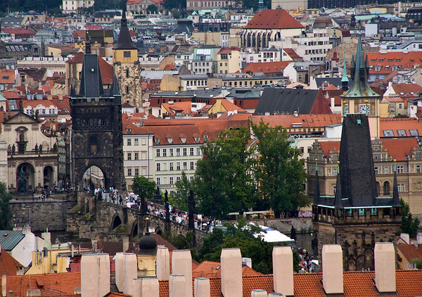 Charles Bridge in the distance<br /> Prague, Czech Republic