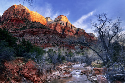 Sunrise on The Sentinel and The Streaked Wall Zion National Park