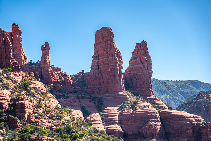 The Two Sisters, a red sandstone formation, as seen from the Chapel of the Holy Cross in Sedona.