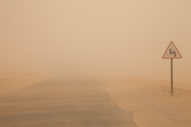 During a sandstorm, the roads simply disappear. Visibility falls to a few meters.