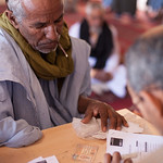 A man injured during the conflict is providing information about his condition during the survey. This picture was used by AOAV (without my authorization or proper credit) for the cover of t ...