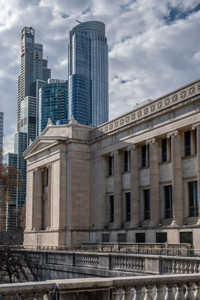 The Field Museum overshadowed by modern towers