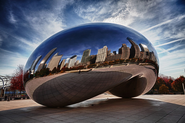 "Daytime HDR photo of Cloud Gate - ""The Bean"" - in Millenium Park, Chicago"