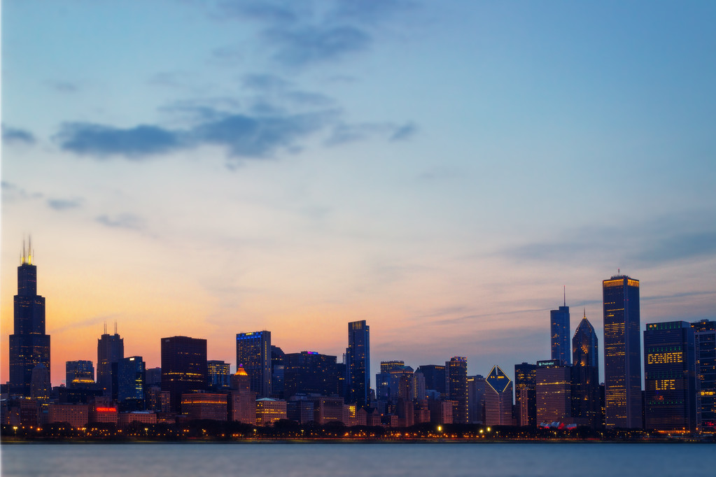 Sunset behind the City (Chicago, Illinois)