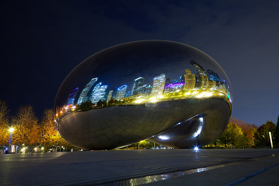 "Nighttime photo of Cloud Gate - ""The Bean"" - in Millenium Park, Chicago"