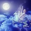 Tragic night sky with a full moon