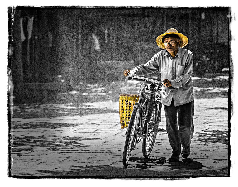 #677 Old Gentleman with Bicycle