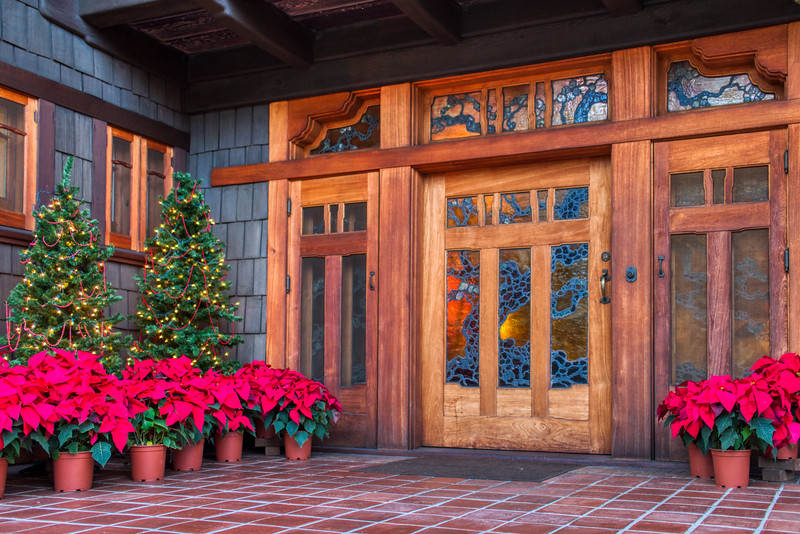 Front door of the Gamble House in Pasadena, CA