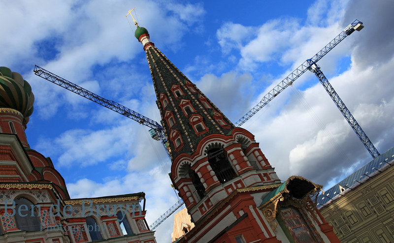 Blue sky and clouds at orthodox church Cathedral St. Vasily the Blessed (Saint Basil's) on Red Square in Moscow Russia