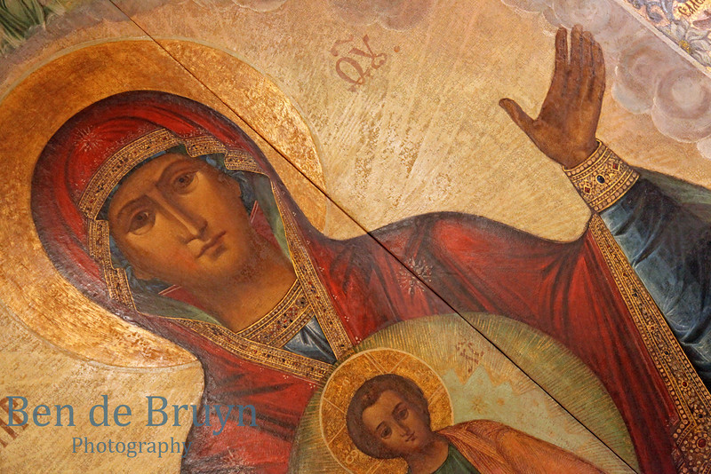 Painting of mother Mary and Jesus inside orthodox church of Cathedral St. Vasily the Blessed (Saint Basil's) in Moscow Russia