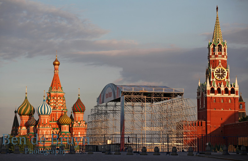 Stage on Red square with Cathedral St. Vasily the Blessed (Saint Basil's) in Moscow Russia in distance